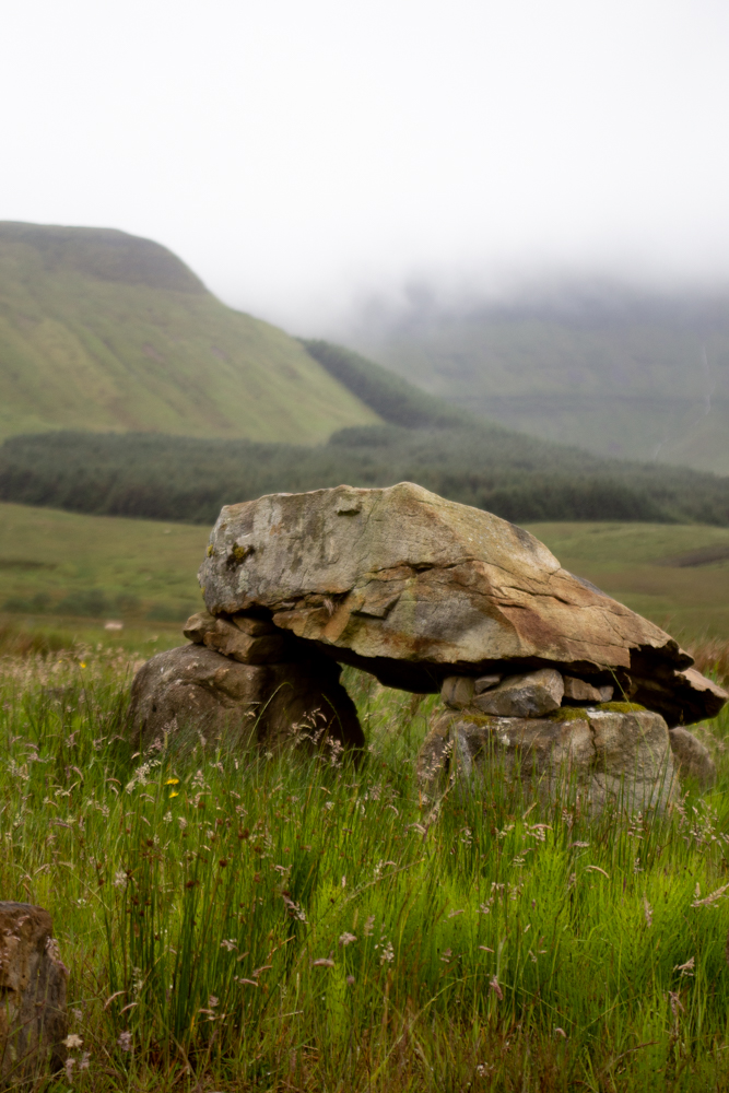 An image of a dolmen in the shadow of Ben Bulben