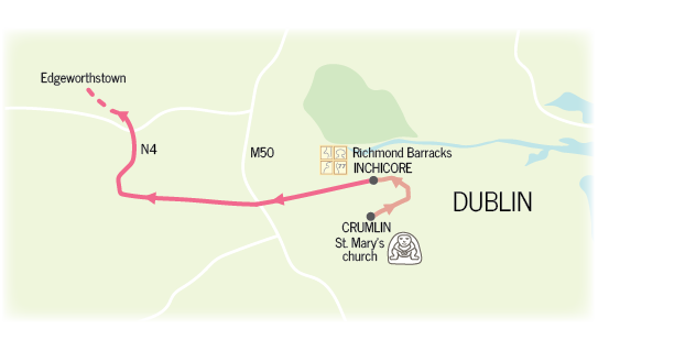 Map showing route from Crumlin Sheela na gig to Richmond Barracks in Inchicore and via the N4 to Edgeworthstown