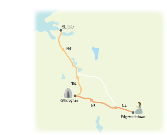 Day 1 route from Edgeworthstown to Rathcroghan