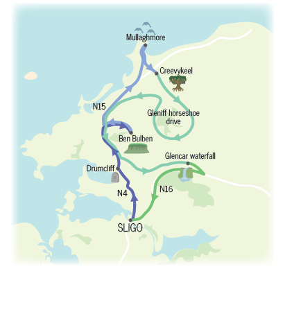 Map shows route for Day 3 from Sligo to Mullaghmore via Drumcliff, Ben Bulben, Creevykeel, Gleniff Horsehoe and Glencar waterfall