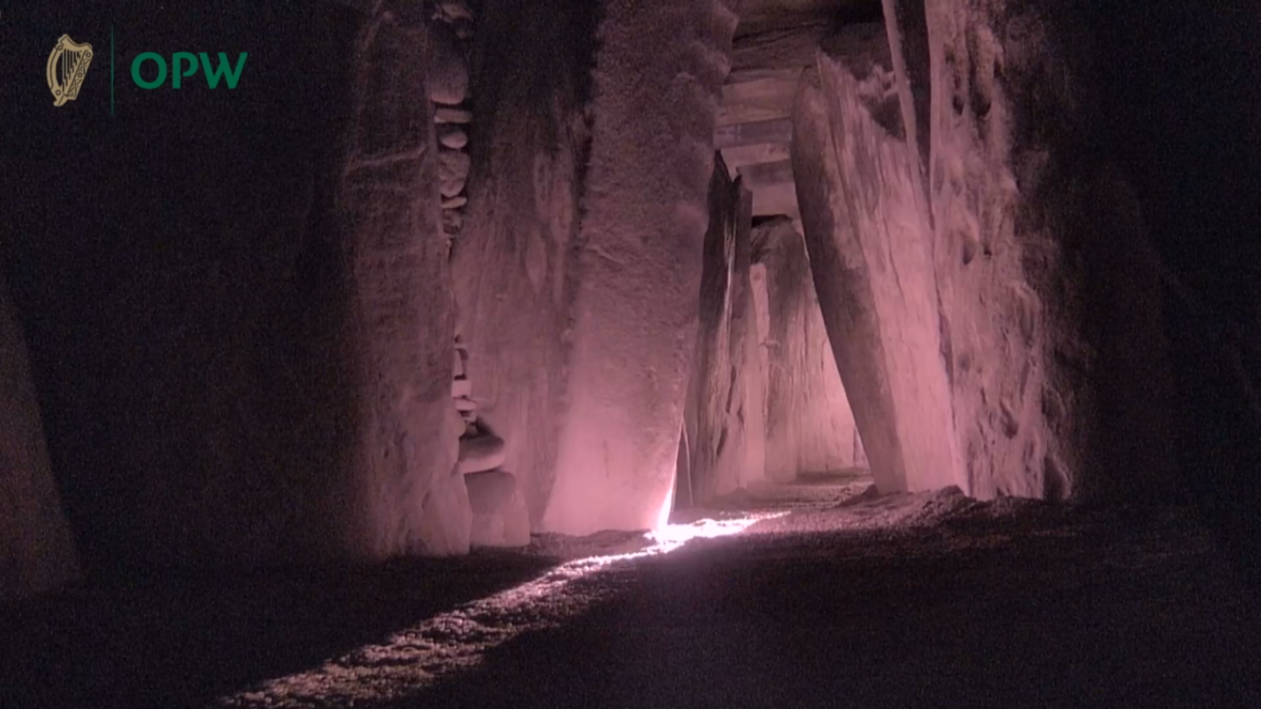 Light entering the inner chamber of the Newgrange passage tomb on the winter solstice 2020