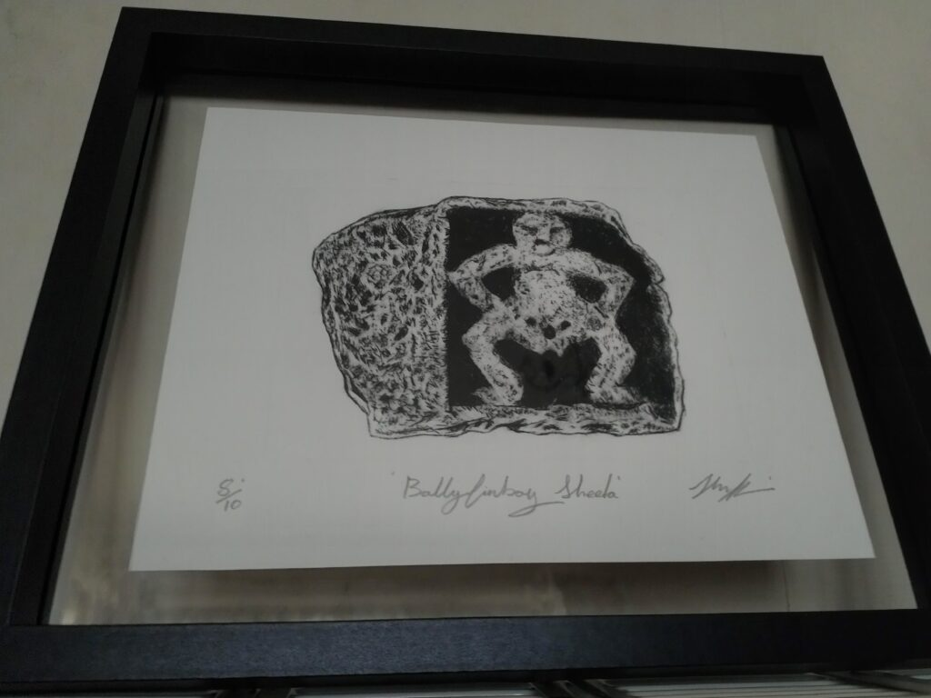 Print of Ballyfinboy Sheela na Gig by John Flynn