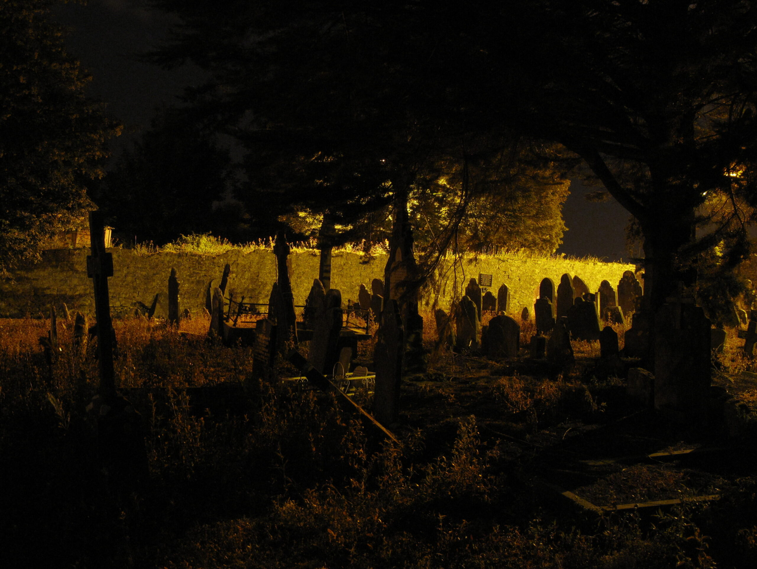 graveyard at night